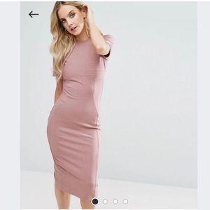 ASOS Midi Dress In Rose Nude NEW